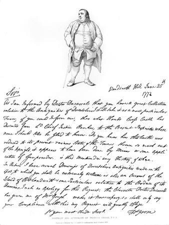 A Letter and Portrait of Francis Grose, 1772,