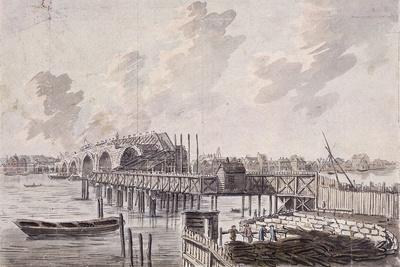 Construction of Blackfriars Bridge, London, C1762