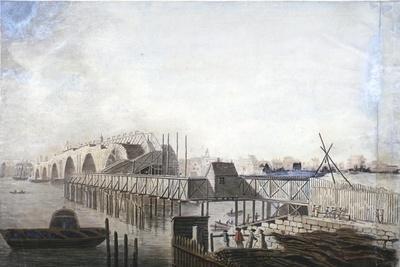 View of the Temporary Bridge at Blackfriars, London, 1762