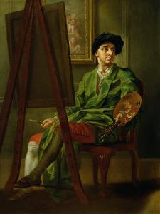 Portrait of the Artist at His Easel by Francis Hayman