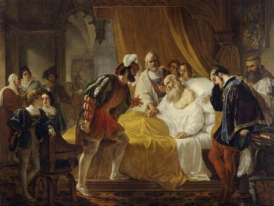 Francis I at the Deathbed of Leonardo Da Vinci, 1828-Cesare Mussini-Giclee Print