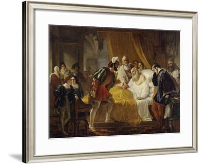 Francis I at the Deathbed of Leonardo Da Vinci, 1828-Cesare Mussini-Framed Giclee Print