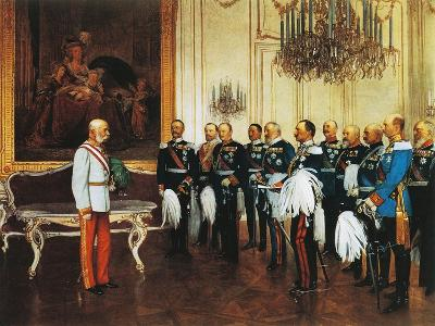 Francis Joseph and Dignitaries at Royal Palace in Vienna for Emperor's Jubilee, Austria--Giclee Print