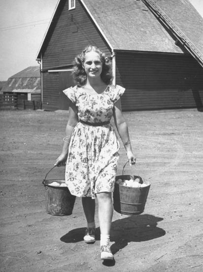 Francis Larson Collecting Eggs on Her Farm-Bob Landry-Photographic Print