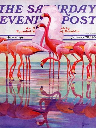 """Pink Flamingos,"" Saturday Evening Post Cover, January 29, 1938"