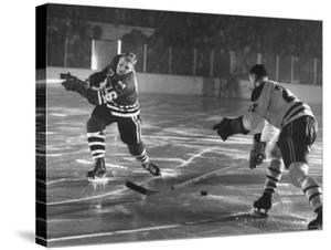 Black Hawks Player Bobby Hull in Game Against Montreal Canadians by Francis Miller