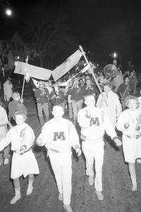 Cheerleaders at the Minnesota- Iowa Game, Minneapolis, Minnesota, November 1960 by Francis Miller