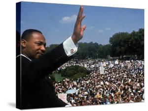 Dr. Martin Luther King Jr. Addressing Crowd of Demonstrators Outside Lincoln Memorial by Francis Miller