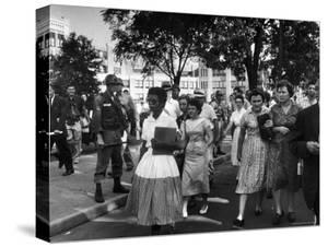 Elizabeth Eckford with Snarling Parents After turning Away From Entering Central High School by Francis Miller