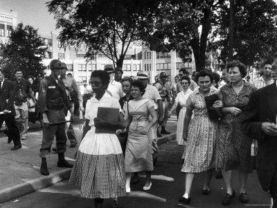 Elizabeth Eckford with Snarling Parents After turning Away From Entering Central High School