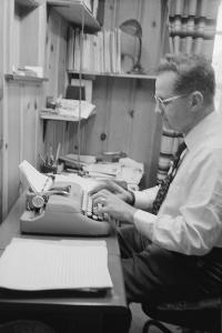Head of Wright Aero Medical Lab Col. John P. Stapp Writing His Book at Home, Dayton, Ohio, 1959 by Francis Miller
