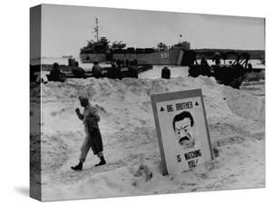 Imposing Sign Placed on Beach by Defending Troops, Copied from Article on George Orwell's 1984 by Francis Miller