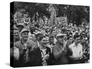 Milwaukee Braves Fans Jam the Streets to Welcome Team Back from Road Trip with Victory Parade by Francis Miller