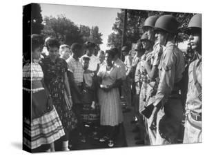 Minnijean Brown, Along with Other Black Students, Being Blocked by the Ak National Guard by Francis Miller