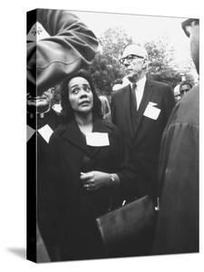 Mrs. Martin Luther King Jr. with Benjamin Spock Protesting the War in Vietnam by Francis Miller