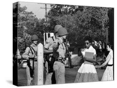 Teenager Elizabeth Eckford Turned Away From Entering Central High School by Arkansas Guardsmen