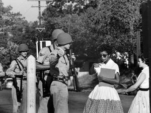 Teenager Elizabeth Eckford Turned Away From Entering Central High School by Arkansas Guardsmen by Francis Miller
