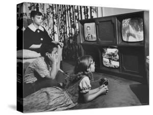 Three Eyed TV Monster Created by Ulises Sanabria Which Permits Two and Three Screen Viewing by Francis Miller