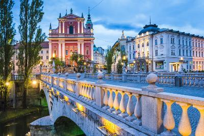 Franciscan Church of the Annunciation and Bridge over the Ljubljanica River-Matthew Williams-Ellis-Photographic Print