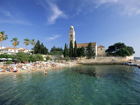 Franciscan Monastery and Beach, Hvar Town, Hvar Island, Dalmatia, Croatia-Gavin Hellier-Photographic Print