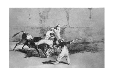 A Moor Caught by the Bull in the Ring, Plate 8 of 'The Art of Bullfighting', Pub. 1816 by Francisco de Goya