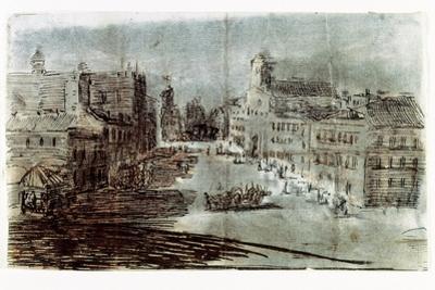 A Street in Madrid by Francisco de Goya