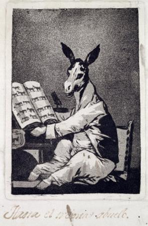 "As Far Back as His Grandfather, Plate 39 of ""Los Caprichos"", 1799 by Francisco de Goya"