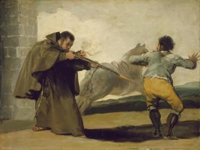 Friar Pedro Shoots El Maragato as His Horse Runs Off, C.1806 by Francisco de Goya
