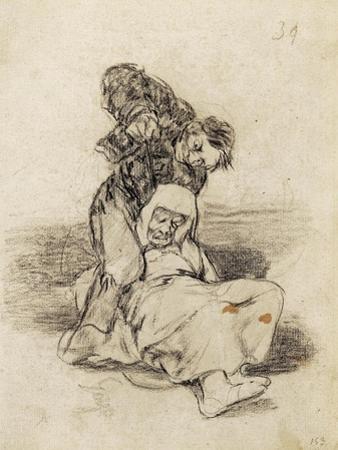Mad Man Killing an Old Woman by Francisco de Goya