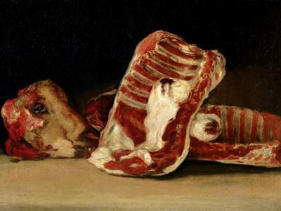 Still Life of Sheep's Ribs and Head - the Butcher's Conter by Francisco de Goya