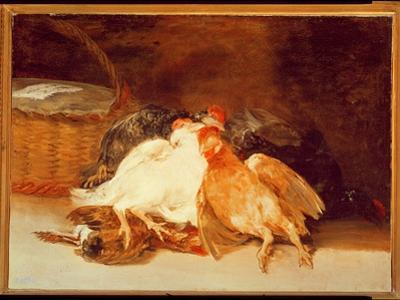 Still Life with Dead Chickens and a Wicker Basket