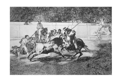 The Forceful Rendon Stabs a Bull with the Pike by Francisco de Goya