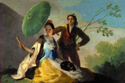 The Parasol, Cartoon for the Tapestry of the Dining Room in the Prado Palace, 1777-78 by Francisco de Goya