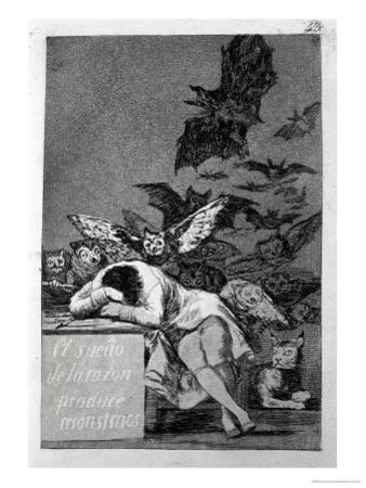 "The Sleep of Reason Produces Monsters, Plate 43 of ""Los Caprichos,"" 1799 by Francisco de Goya"