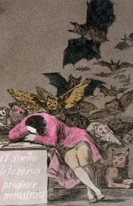 """The Sleep of Reason Produces Monsters, Plate 43 of """"Los Caprichos,"""" Published circa 1810 by Francisco de Goya"""