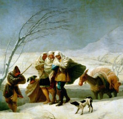 The Snowstorm (Winter), Cartoon for a Tapestry, 1786-1788 by Francisco de Goya