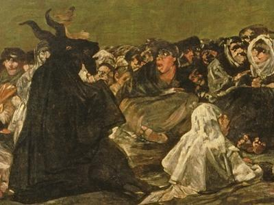 "The Witches' Sabbath or the Great He-Goat, (One of ""The Black Paintings""), C.1821-23 (Detail) by Francisco de Goya"