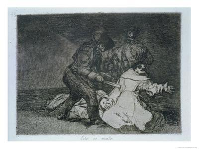 """This is Bad, Plate 46 of """"The Disasters of War,"""" 1810-14, Published 1863 by Francisco de Goya"""
