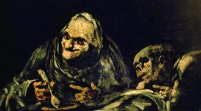 """Two Old Men Eating, One of the """"Black Paintings"""", 1819-23 by Francisco de Goya"""