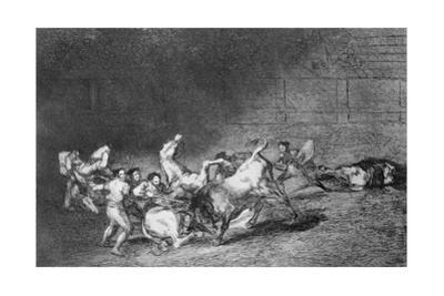 Two Teams of Picadors Thrown One after the Other by a Single Bull by Francisco de Goya