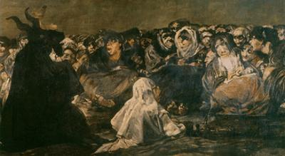 Witches' Sabbath (Black Painting), 1819 - 23, Mural Painted at Quinta Del Sordo (Detail) by Francisco de Goya