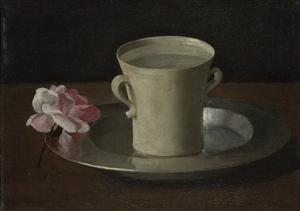 A Cup of Water and a Rose, C.1630 by Francisco de Zurbar?n
