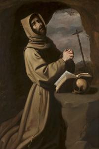 St. Francis in Prayer in a Grotto, 1650-55 by Francisco de Zurbaran