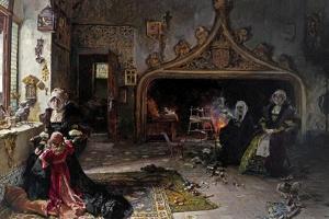 La Reina Doña Juana Recluida En Tordesillas Con Su Hija La Infanta Doña Catalina, 1906 by Francisco Pradilla Y Ortiz