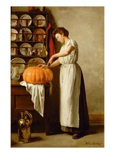 Cutting the Pumpkin, 1910 by Franck-Antoine Bail