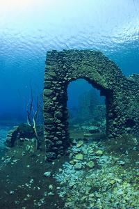 Remains of Submerged Mill, Lago Di Capo D'Acqua, Capestrano, Aquila, Abruzzo, Italy, May 2006 by Franco Banfi