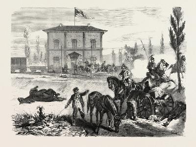 Franco-Prussian War: the Railway Station of Courcelles in the Morning of 16 August 1870--Giclee Print