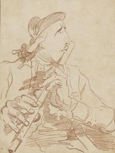 Portrait-charge de Lemonnier jouant de la flûte by Francois Andre Vincent