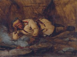 A Laplander Asleep by a Fire by Francois Auguste Biard