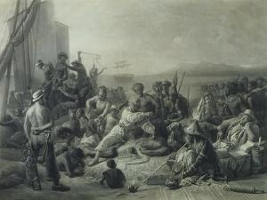 Scene on the Coast of Africa, Engraved by Wagstaff, London, 1844 by Francois Auguste Biard